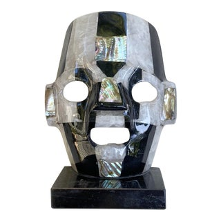 Abalone and Onyx Decorative Mask For Sale