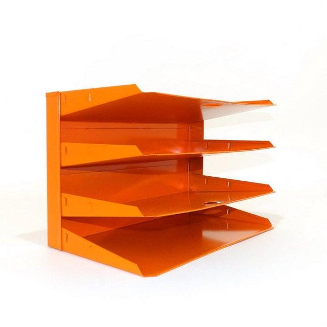 Metal Orange Metal Desk Organizer For Sale - Image 7 of 7