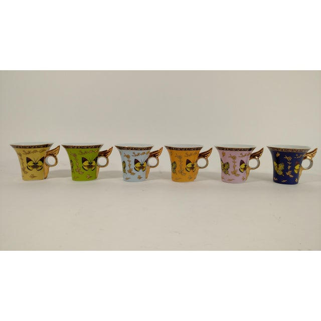 Porcelain Butterfly Cups & Saucers - S/6 - Image 4 of 8