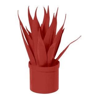 Stray Dog Designs for Chairish Mother-In-Law Tongue Faux Plant, Deep Red For Sale