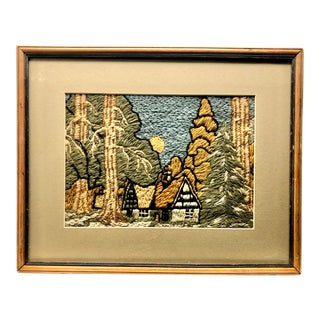 Mid 20th Century Forest Needlepoint Scene For Sale