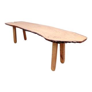 Mid 20th Century Custom Made Slab Wood Coffee Table For Sale