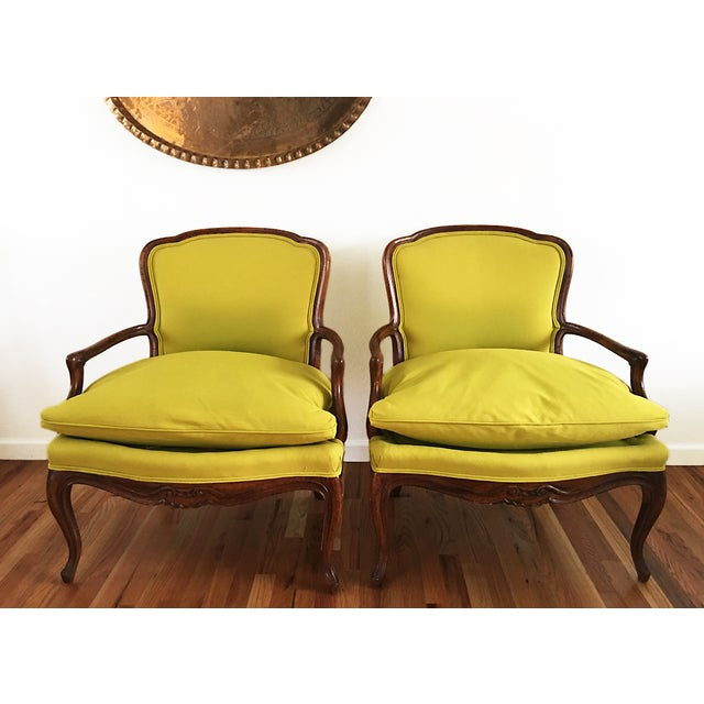 Vintage French Bergere Down Stuffed Chairs - Pair - Image 2 of 9