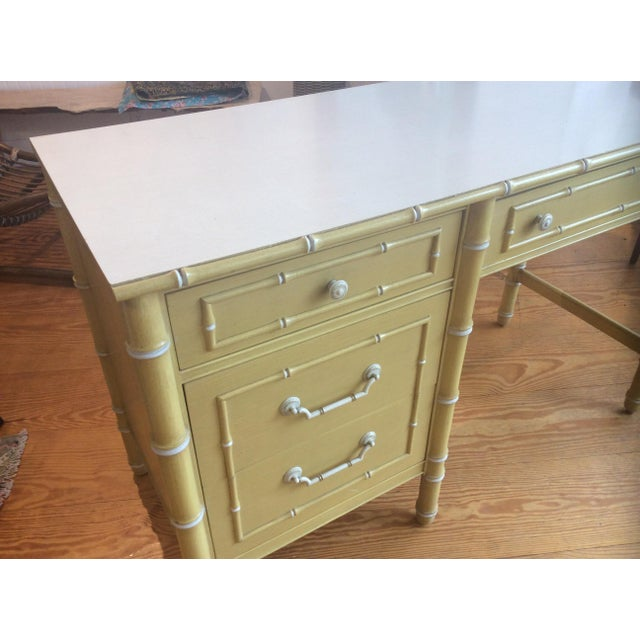 Asian Thomasville Vintage Faux Bamboo Desk For Sale - Image 3 of 9