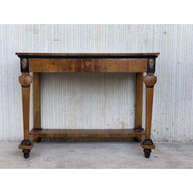 Antique French Empire Fruitwood Console Table With Drawer, Early 19th Century For Sale - Image 4 of 10