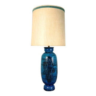 Aldo Londi Bitossi Blue Ceramic Table Lamp With Original Shade, Circa 1960's For Sale