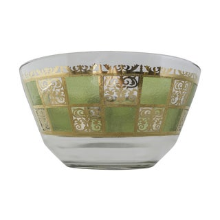 Culver Ltd Prado Green & 22k Gold Punch Bowl