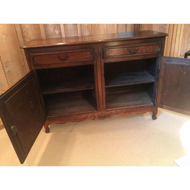 French Provincial French Louis XV Style Carved Oak and Walnut Sideboard For Sale - Image 3 of 11