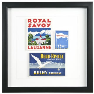 Three Framed Vintage Hotel Luggage Labels - Switzerland For Sale