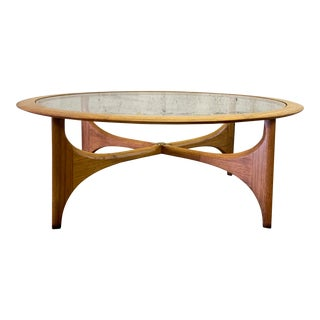 Mid Century Modern Walnut & Glass Coffee Table by Lane Furniture For Sale