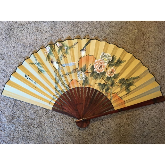 Large Hand-Painted Wall Fan - Image 2 of 6