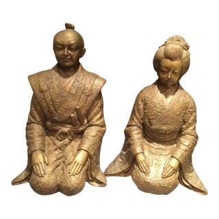 Bronze Asian Statues of an Empress and Emperor- a Pair For Sale