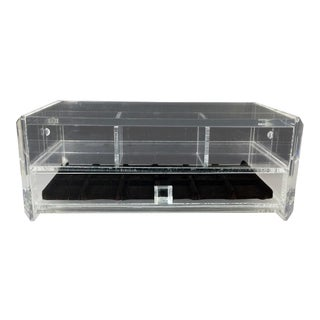 Mid Century Clear Lucite Jewelry Vanity Display Box