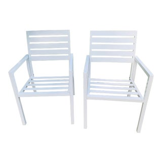 White Powder Coated Aluminum Arm Chairs- A Pair For Sale