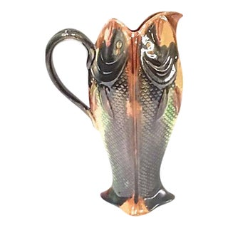Antique English Majolica Fish Pitcher