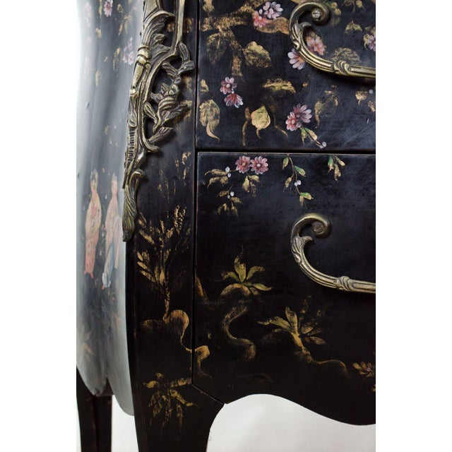 20th C. French Louis XV Style Chinoiserie Marble Top Bombe Commode For Sale - Image 11 of 13