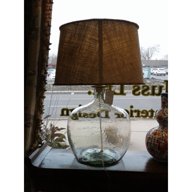 Contemporary Clear Blown Glass Lamp W/ Burlap Shade For Sale - Image 3 of 6