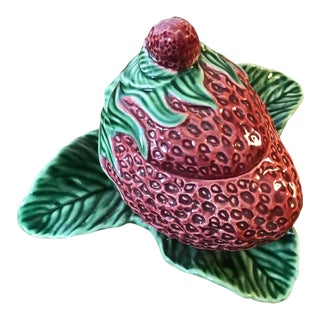 Vintage Strawberry Service Jam/Sugar Bowl by Bordallo Pinheiro For Sale