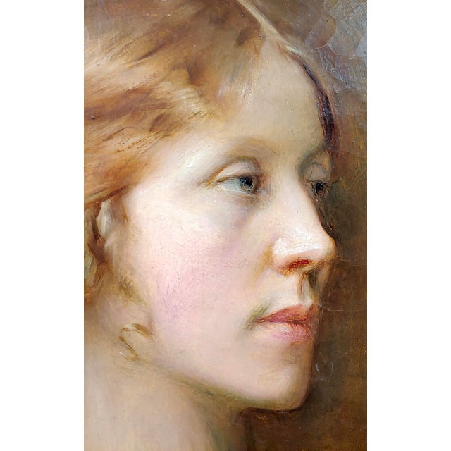 Arthur Hacker 1918 Portrait of a Sophisticated Red Haired Lady - Oil Painting For Sale In Los Angeles - Image 6 of 11