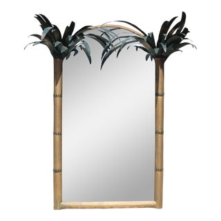 Gilt Metal Hollywood Regency Tole Palm Tree Mirror For Sale