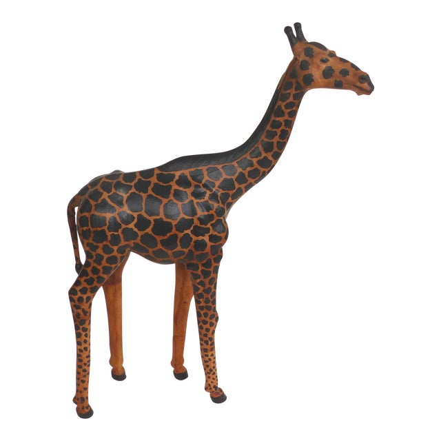 4 Foot Tall Leather Giraffe Sculpture For Sale