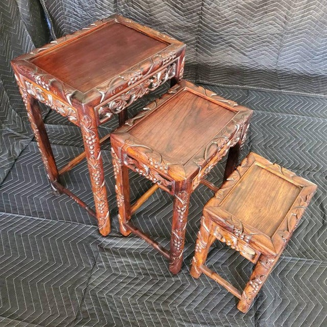 Early 20th Century Antique Chinese Carved Nesting Tables - Set of 3 For Sale - Image 5 of 11