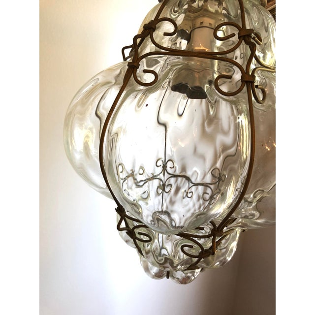 1950s Caged Clear Murano Glass Lantern Pendant For Sale - Image 5 of 6