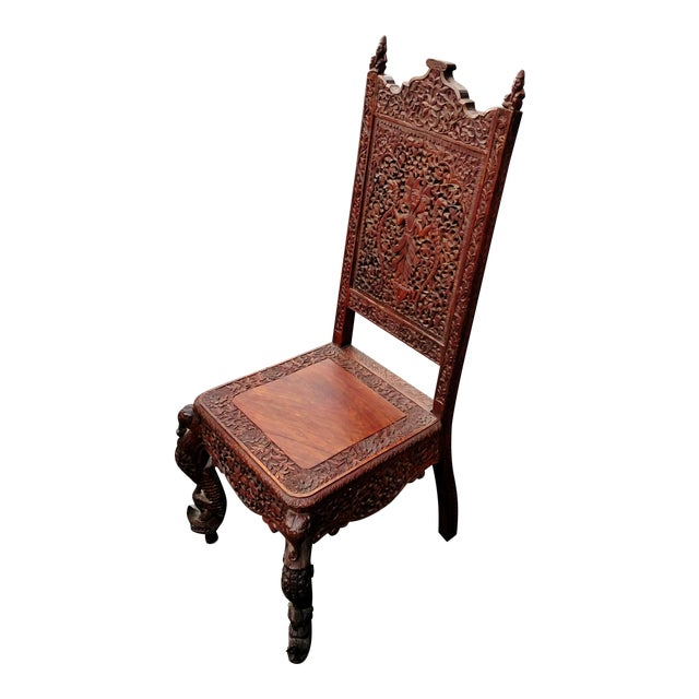 Asian 19th C Figural Carved Wood Burmese Chair - Image 1 of 10