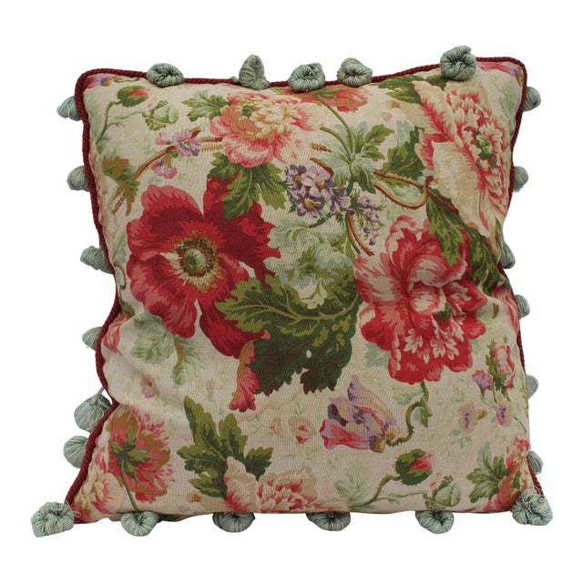 English Traditional Floral Down Pillow For Sale - Image 10 of 10