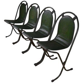 Stacking Chairs by Sebel, Pressed Metal Seat on Tubular Frame, Set of 4 For Sale