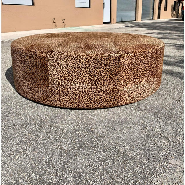 Vintage French Leopard Leather Ottoman Coffee Table, 1910s For Sale - Image 9 of 13