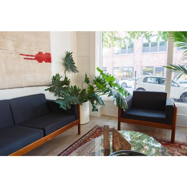 style: pair, modern, lounge, chairs material: wood (teak), cotton upholstery age: vintage, Mid Century origin: Denmark...