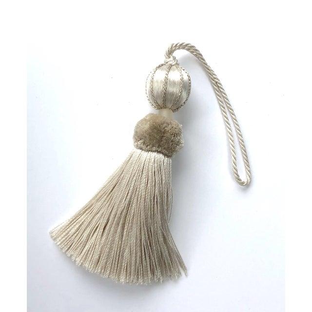 "Cream Boho Chic Ivory Beaded Key Tassel - 4.5"" For Sale - Image 8 of 8"