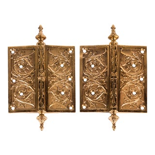 Victorian Cast Brass Hinges - a Pair For Sale