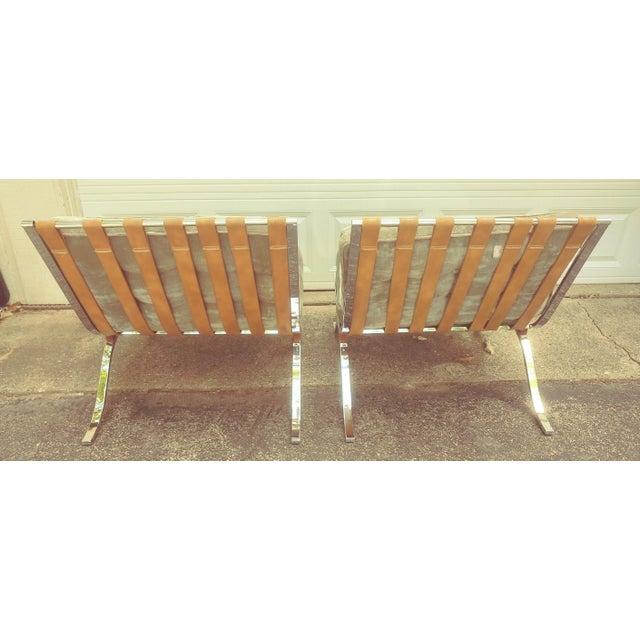 Modern Mid Century Italian Barcelona Cloth Chairs For Sale - Image 3 of 10