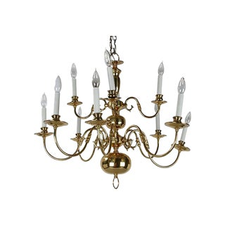 Brass Chandelier with Canopy For Sale