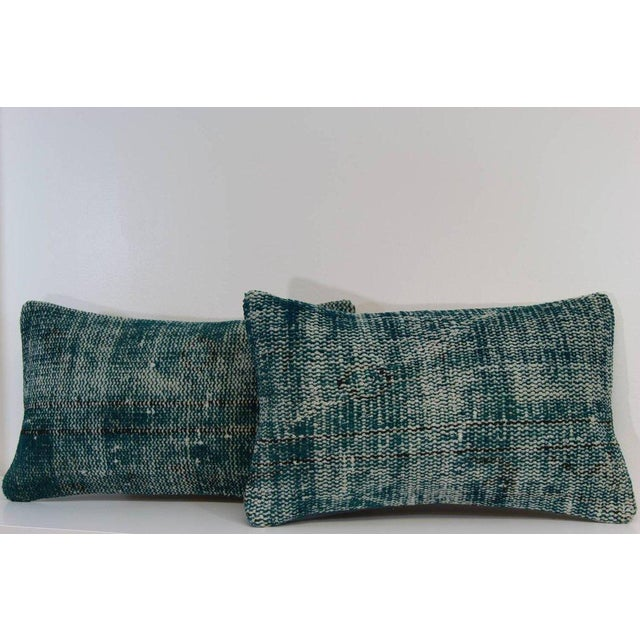 Turquoise Lumbar Over-Dyed Rug Pillows - Pair - Image 2 of 4