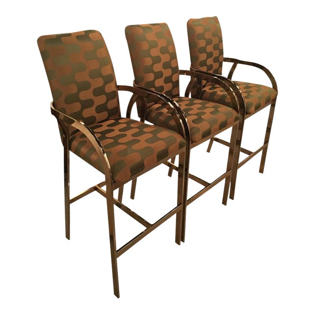 Vintage Hollywood Regency DIA Upholstered Brass Gold Arm Bar Stools - Set of 3 For Sale - Image 12 of 12