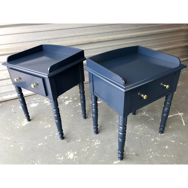 C F Kent Furniture High Gloss Blue Nightstands / End Tables - a Pair For Sale - Image 9 of 11