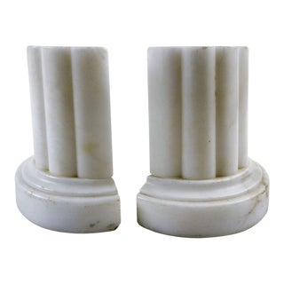 Vintage Italian Marble Column Bookends - a Pair For Sale