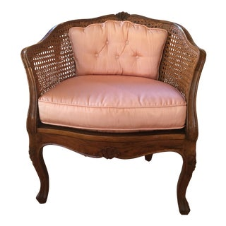 1950s Antique Florentia Hand-Crafted Cane & Maple Scalloped Tub Chair For Sale