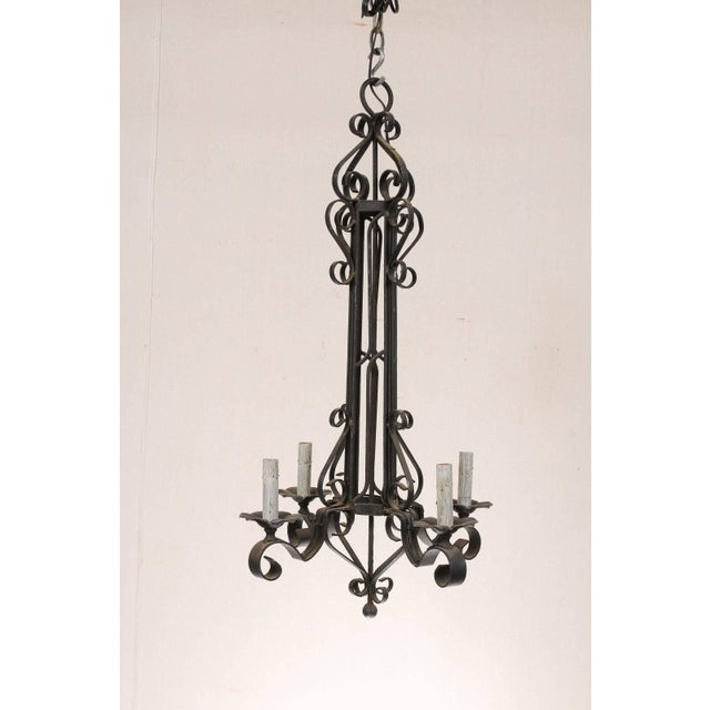 French Tall French Four Light Black Iron C-Scrolled and S-Scrolled Chandelier For Sale - Image 3 of 9