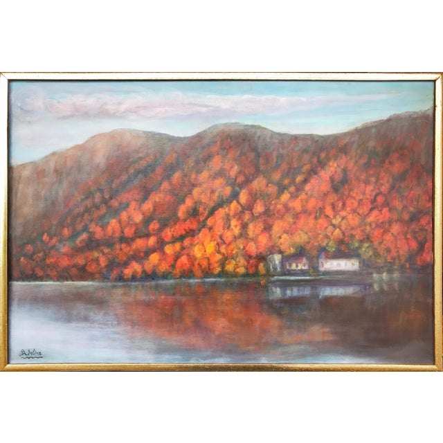 Canvas Vintage Fall Landscape Painting Oil on Canvas For Sale - Image 7 of 7