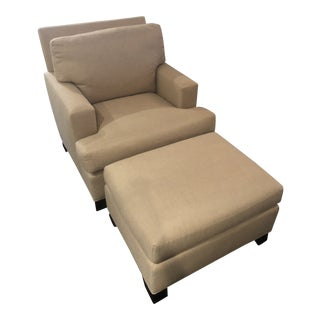 Modern Baker Furniture Track Arm Chair & Ottoman For Sale
