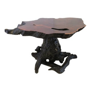 1960's Vintage Redwood Tree Trunk Table For Sale