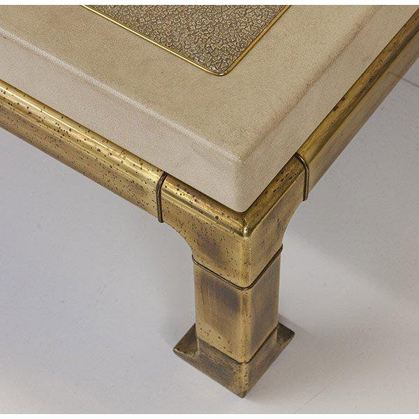 1970s Mastercraft Coffee Table With Faux Snake Skin Embossed Leather and Hefty Brass Legs For Sale - Image 5 of 10