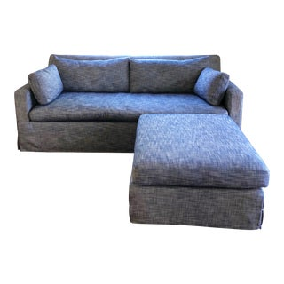 Restoration Hardware Slip Covered Sleeper Sofa & Ottoman - 2 Pieces For Sale