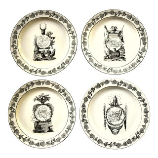 Vintage Italian Mottahedeh 18th-Century Creil Creamware Neoclassical Regions of France Dessert Plates - Set of 4 For Sale