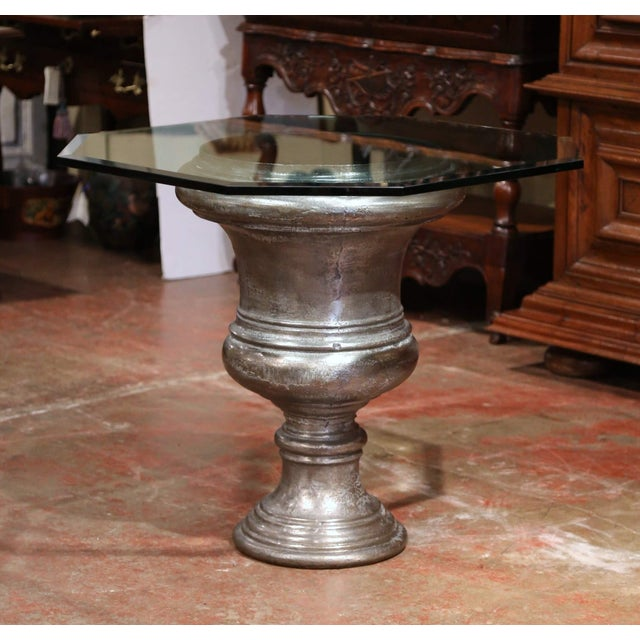 19th Century French Polished Cast Iron Urn Shape Table With Octagonal Glass Top For Sale - Image 4 of 8