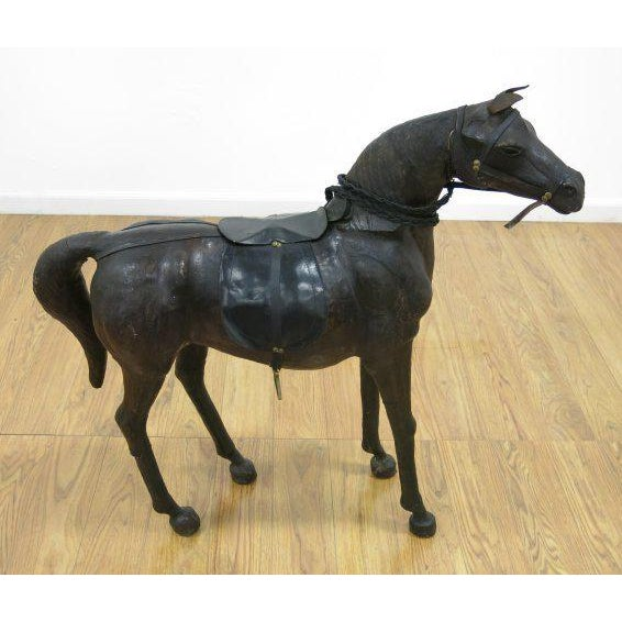 Rustic Leather Horse Statue For Sale - Image 3 of 3